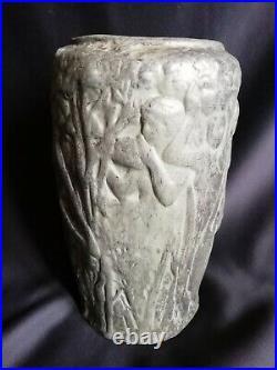 Gustave Violet & Marcó Quart / Vase cylindre en céramique / Art Nouveau-Art Déco