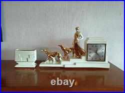Horloge Odyv En Ceramique Art-deco Femme Et Levriers 1920