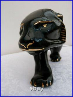 IMPORTANTE STATUE art déco panthère noire rehaussée OR Haut 19 cm L 50 cm