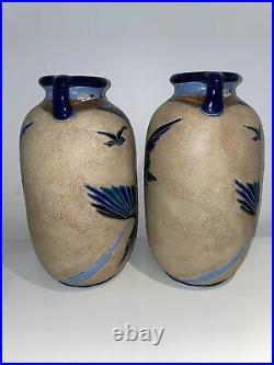 Impérial Amphora Imposante Paire De Vases En Céramique Émaillé Art Déco Cubisme