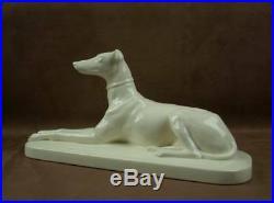 Importante Sculpture Ceramique Levrier Art Deco En Faience De Sarreguemines