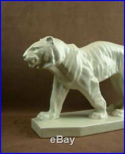 Importante Sculpture En Ceramique Craquele Art Deco Tigre Signée Lejan