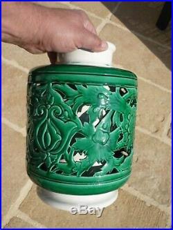 Imposant Vase Art Deco Ceramique Ajouree Gustave Asch Sainte Radegonde 1930