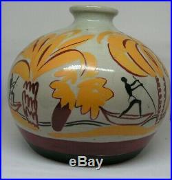 Imposant Vase Ceramique Art Deco Lanoa Duchartre Delvaux Colonial Africaniste