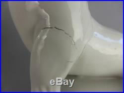 Impressionnante Otarie En Ceramique Blanche 28 CM Sculpture Animaliere Art Deco