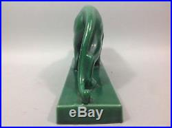 JEAN Sculpture Panthère Céramique émaillée verte Rehauts dorés Art Déco 1930-40