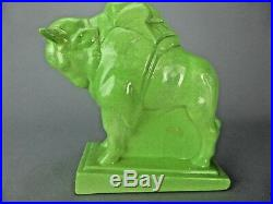 Joli Taureau Art Deco Stylise En Ceramique Craquelee Sculpture Animaliere Bison