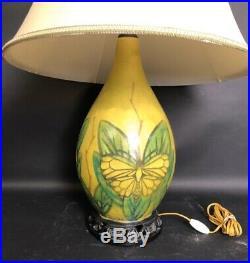 LACHENAL RAOUL ART DECO Lampe En Ceramique A Décor De Papillons