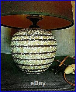 LAMPE BOULE ART DECO céramique, genre J BESNARD bande brune & émail crispé blanc