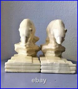 LEFEBVRE Onnaing serre-livres Ours Polaires céramique Art-Déco