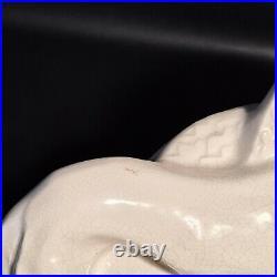 LEJAN Statue en Céramique Craquelée ART DECO élégante au lévrier