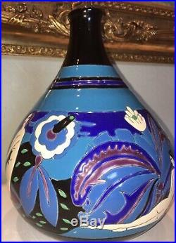LONGWY Vase Primavera en céramique tamponnée. Art Déco