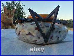 L DAGE Vase Art déco en céramique monture en fer forgé à décor de citronnier