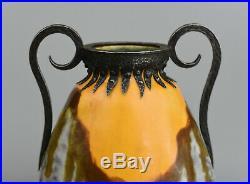 L. Dage-Vase piriforme Art Déco-Céramique émaillée et fer forgé-France, vers 1920