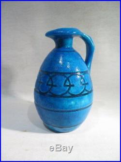 Lachenal Ancien Joli Pichet En Ceramique Craquele Bleu Decor Geometrique 1940