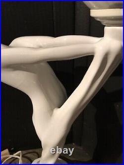 Lampe Style Art Deco en porcelaine blanche / Très Déco