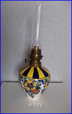 Lampe a petrole art deco Keramis BOCH frères La Louvière CHARLES CATTEAU KOSMOS