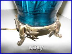 Lampe à pétrole, lampe, céramique, faïence bleue, Théodore DECK  XIX ème siècle