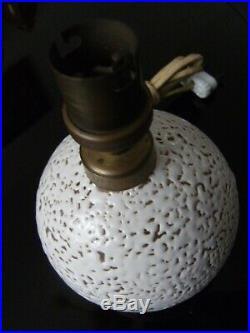 Lampe art déco 1er prix 1936 Céramique moderniste crispée blanc Jean Besnard