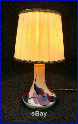 Lampe art déco en céramique signée Simone Larrieu, année 30-40