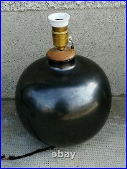 Lampe désign boule céramique noire art déco (BONIFAS) pottery lamp ceramic
