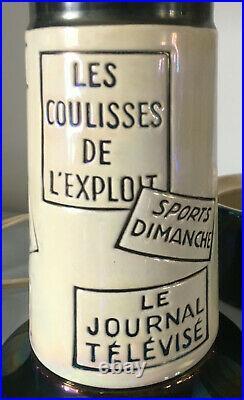 Lampe veilleuse céramique publicitaire RTF Colonne Morris circa 1950