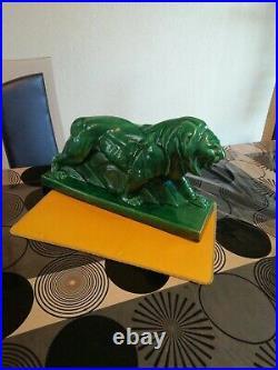 Le Jan Sculpture Animalière Lion Peugeot Publicitaire Céramique Art Deco 1925/40