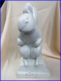 Lemanceau Ancien Grand Ecureuil En Ceramique Craquele. Art Deco 1930