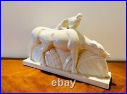 Lemanceau. Antilopes. Grande sculpture en céramique craquelée. Epoque Art Déco