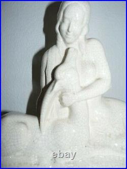 Lemanceau Femme Nue Antilope Statue Sculpture Art Déco Céramique Craquelé