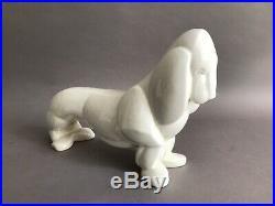 Lemanceau Saint Clément chien basset craquelé en céramique Art Deco 1930
