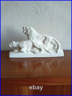 Lions En Ceramique Art Deco Blanc Craquelee Signee L. Francois (1882-1965)