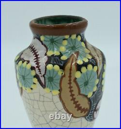 Louis Auguste Dage Vase polychrome Art Déco Signé Céramique craquelée