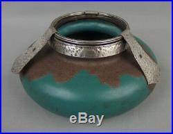 Louis Dage vase en céramique grès émaillé et monture argent art déco