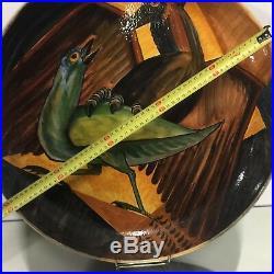 M de P Céramique Grand Plat Peint 1950 Design XXeme Art Deco Oiseau a Identifier