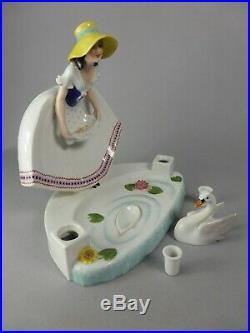 Magnifique Encrier Art Deco Editions Etling Paris Godard Ceramique Femme Cygne