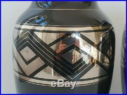 Magnifique Paire De Vases Francais Art Deco 1920 1930 Ceramique Vintage 20s 30s