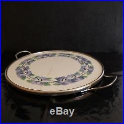 N2764 Plateau céramique porcelaine métal inox art nouveau déco 1920 XX PN France