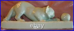 ODYV Céramique années 30 Chat à la balle Manufacture Art déco à Vierzon