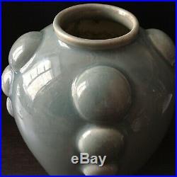 ODYV Vase ART DECO Faïence Email Vert Céladon 1930 Design Céramique