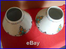 ORCHIES 2 Vases céramique craquelée décor floral émaillé Art déco Ht RARE 36 cm