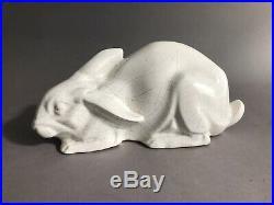 Odyv Vierzon Lapin Ceramique Craquele Blanc Art Deco 1930