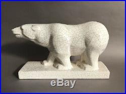 Odyv ours en céramique cubiste craquelé blanc Art Déco vers 1930