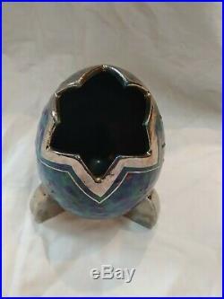 Original vase céramique signé Louis Dage art déco bleu argent