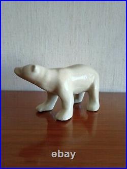 Ours Blanc En Ceramique L&v Ceram Art Deco Ceramique Craquelee