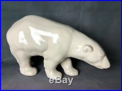 Ours blanc en céramique craquelée style Art déco