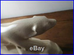 Ours polaire en céramique craquelée de la maison L et V CERAM de style art déco