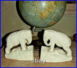 PAIRE DE SERRE LIVRE EN CERAMIQUE CRAQUELE ART DECO elephant LA LOUVIERE BOCH