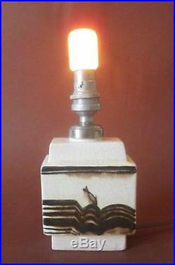 PETIT PIED DE LAMPE ATTRIBUE A ROBERT LALLEMANT, FAÏENCE ART DECO, circa 1930