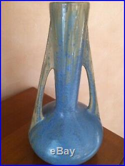 PIERREFONDS, superbe céramique métallisée, paire de vases h 40 cm ART DECO